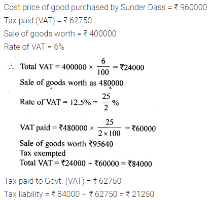 ML Aggarwal Class 10 Solutions for ICSE Maths Chapter 1 Value Added Tax Ex 1
