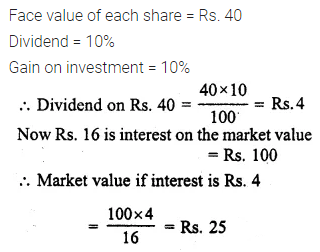 ML Aggarwal Class 10 Solutions for ICSE Maths Chapter 3 Shares and Dividends Chapter Test