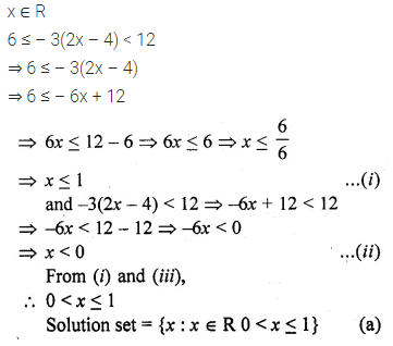 ML Aggarwal Class 10 Solutions for ICSE Maths Chapter 4 Linear Inequations MCQS