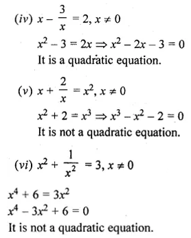 ML Aggarwal Class 10 Solutions for ICSE Maths Chapter 5 Quadratic Equations in One Variable Ex 5.1