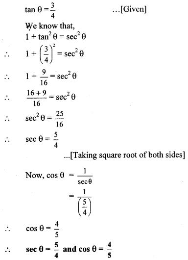 Maharashtra Board Class 10 Maths Solutions Chapter 6 Trigonometry Practice Set 6.1 4