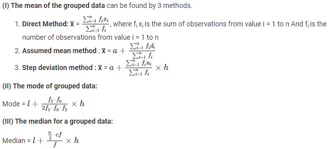 Statistics Formulas for Class 10