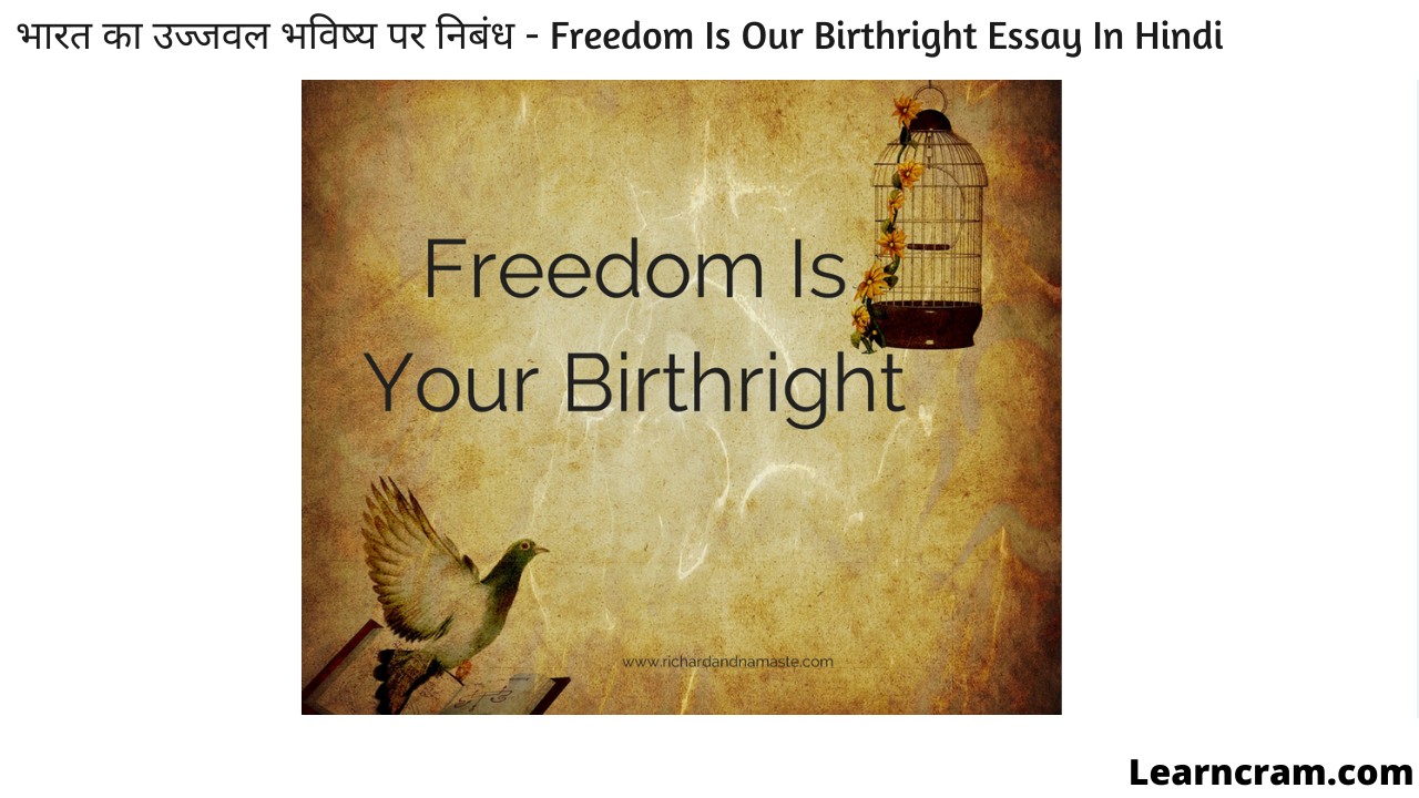 Freedom Is Our Birthright Essay In Hindi